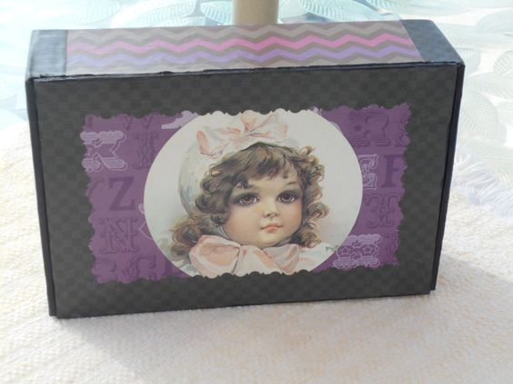 Decorative Box, Upcycled Cigar Box, Upcycled Storage Box, Jewelry Box, Trinket Box, Victorian Girl Decorative Box by KimsCountryCorner on Etsy
