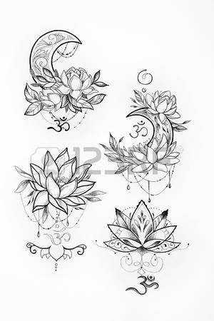 Lotus Flower Tattoo Designs Sketch Of A Lotus And Moon On A White Background Stock Photo Desenhos Para Tatuagem Tatuagem Inspiradora Tatuagens Hindu