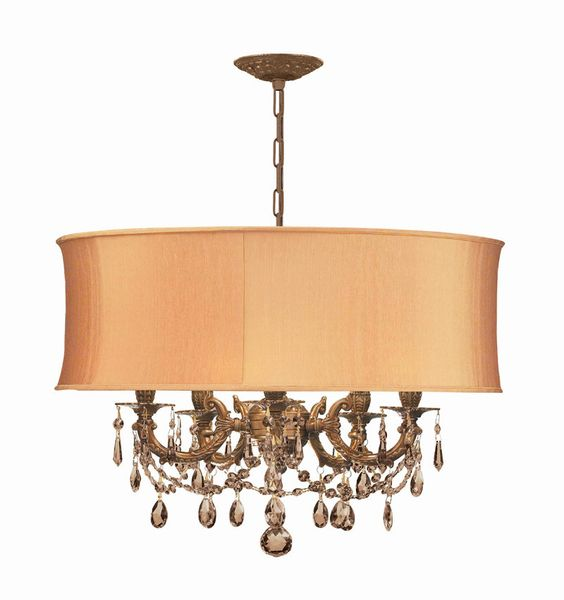 Crystorama Ornate Casted Aged Brass Chandelier with Golden Teak Swarovski Elements Crystal and a Harvest Gold Shade 5 Lights - Aged Brass - 5535-AG-SHG-GTS