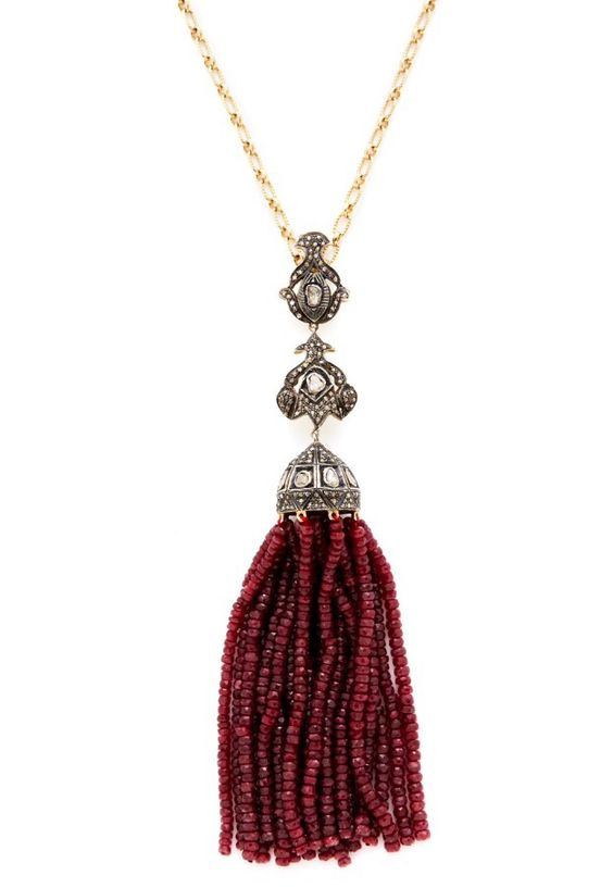 Shay Diamond and Ruby Tassel Necklace