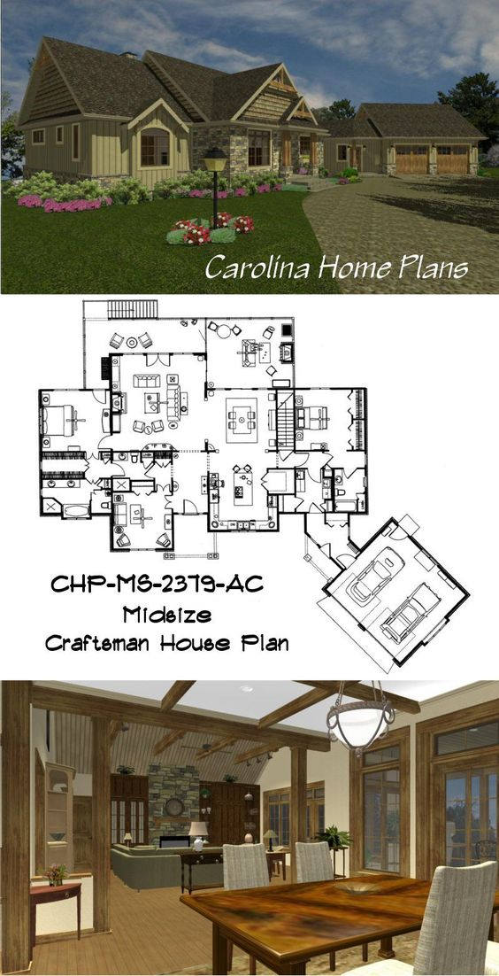 Open floor plan layout and large great room with cathedral for Open beam house plans