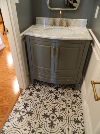 Merola Tile Take Home Sample Twenties Vintage Encaustic Ceramic Floor And Wall 7 3 4 In X Frc8twvt The Depot Powder Room Small Bathroom