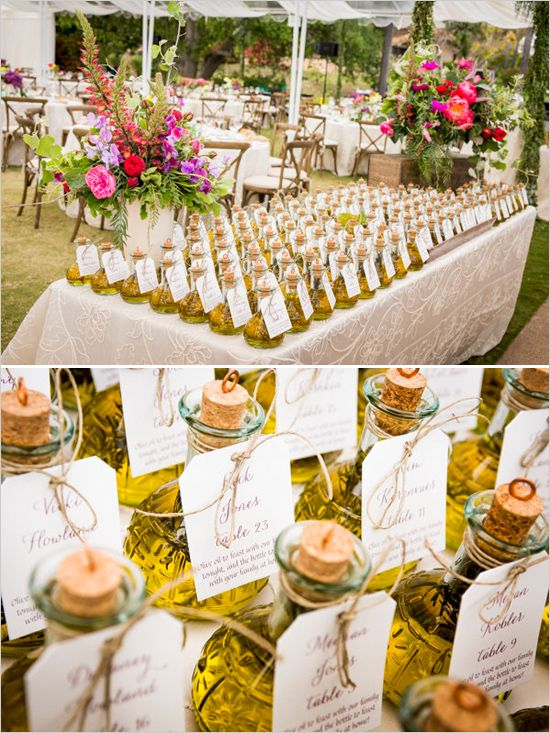Elegant Wedding Favor Ideas: Homemade olive oil wedding favors and table placements.: