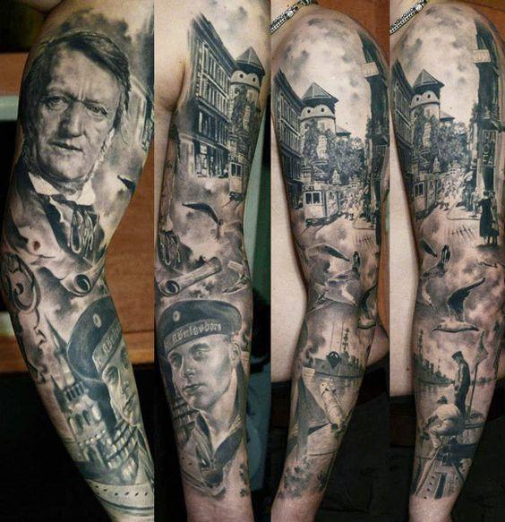 phenominal portrait sleeve by den yakovlev incredible ink pinterest tattoo sleeves banksy. Black Bedroom Furniture Sets. Home Design Ideas