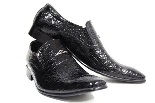 Mens Black Shoes Patent Animal Croc Skin Design Party Wedding Metal 7 8 9 10 11 #Robelli #SlipOns