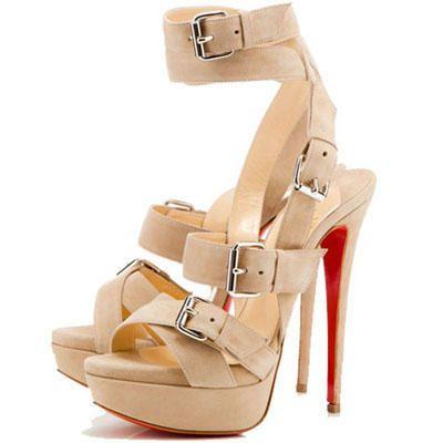 Christian Louboutin Stiletto Heel Ivory Leather Platforms Sandals US$167.00