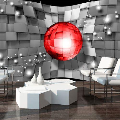 Fototapeten Tapete Wand 3D FOTO QUADRAT KUGELN GRAU ROT 3702 - tapeten wohnzimmer rot