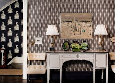 designed by Celerie Kemble.  Betwixt in Charcoal on the walls.