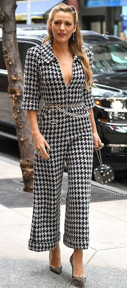 Blake Lively in a Chanel houndstooth jumpsuit - click through to see more of Blake's amazing outfits