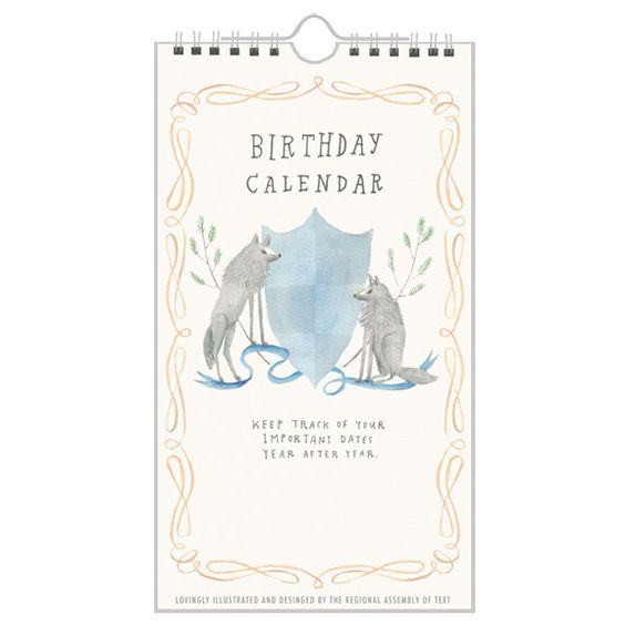 Animal Crest Birthday Calendar by The Regional Assembly of Text