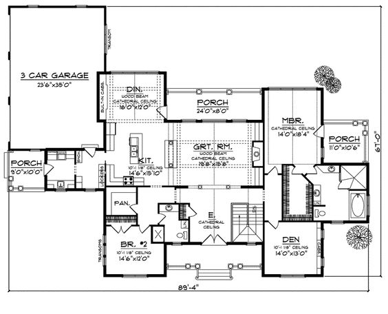 House plans craftsman and vaulted ceilings on pinterest for Rambler house plans with basement
