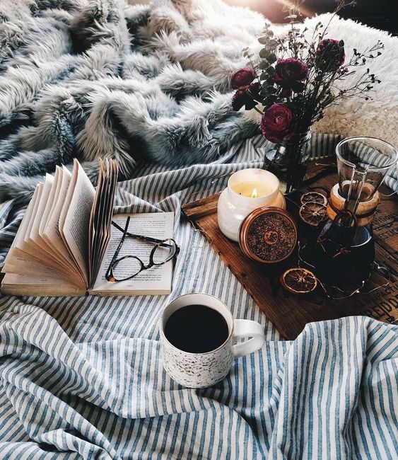 hygge cozy candles snuggle coffee