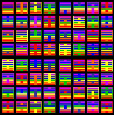 """The Big Ching"" All 64 Hexagrams of the I Ching done in Chakra colors. Digital art based on the I Ching and chakras by Sacred Square Design.:"