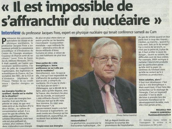 """Article paru dans Nice-Matin le 7 avril 2013 relatant de notre conférence """"Quelles énergies en 2050"""""""