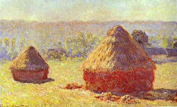 """Monet's painting """"Haystacks"""", my absolute ALL time foavorite painting in the entire world. He sat all day and at each hour painted the same scene, capturing the different shades of the sun on the hay. Brilliant!"""