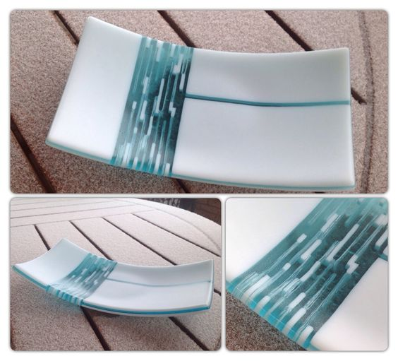 Fused dish using Bullseye glass and strip construction by Christine Smith.