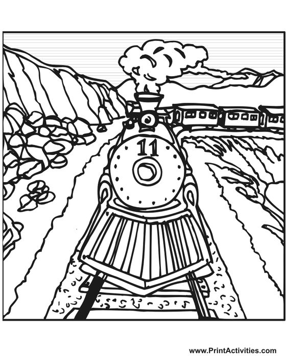 railroad tracks coloring pages | Steam Train Coloring Page | Train number 11 on the tracks ...