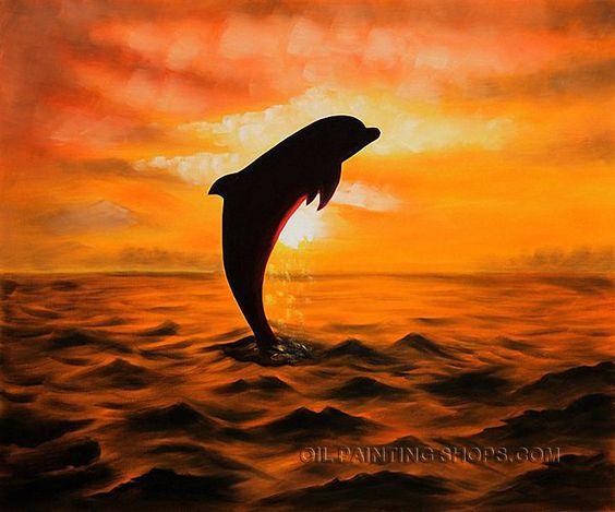 """Wall Art Decoration Ideas Oil Painting Reproductions Animal Dolphin, Size: 24"""" x 20"""", $87. Url: http://www.oilpaintingshops.com/wall-art-decoration-ideas-oil-painting-reproductions-animal-dolphin-1725.html"""
