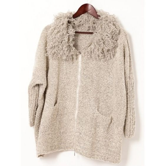 Beige Fluffy Neck Long Sleeve One Size Knitting Warm Autumn/Winter... ($29) via Polyvore