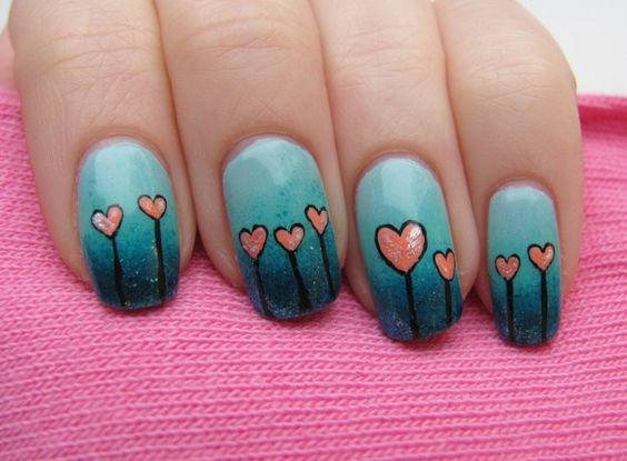 blue and pink hearts nail art