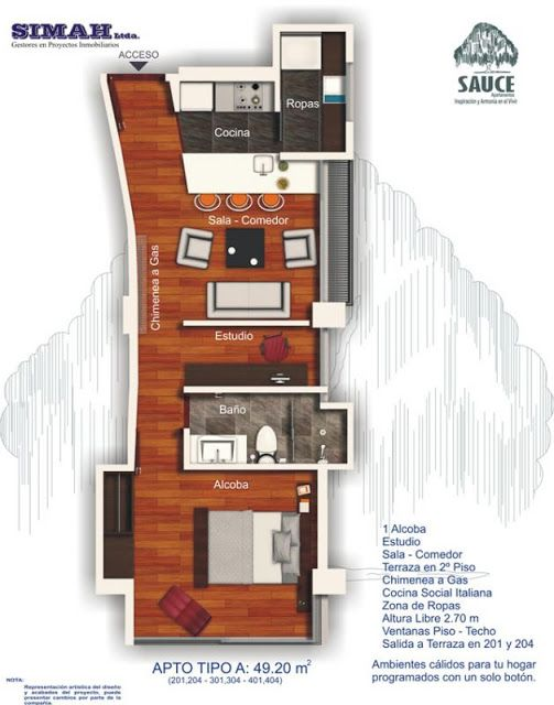 Planos de viviendas peque as con una sola habitacion for Departamentos minimalistas planos
