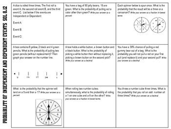Worksheets Independent And Dependent Events Worksheet events on pinterest probability of independent and dependent sol 8 12