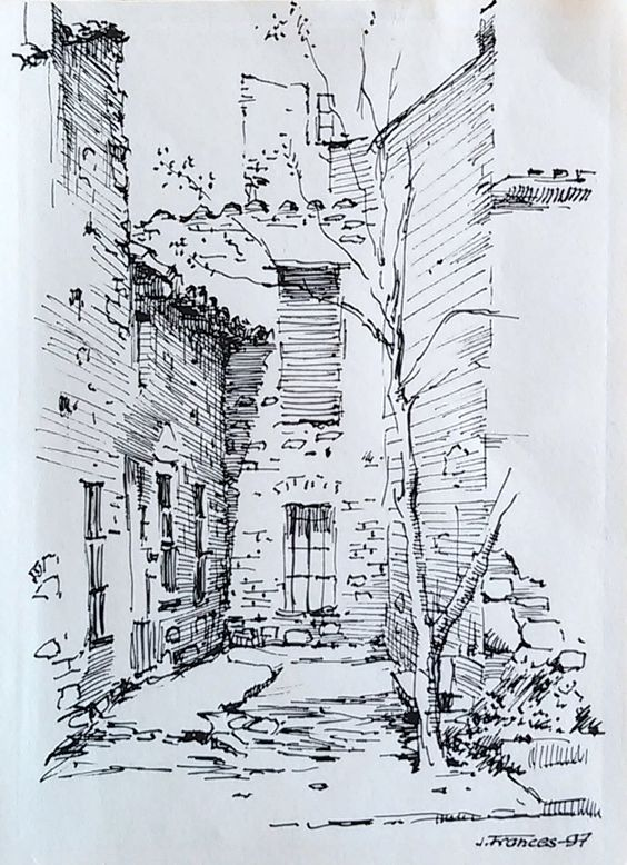 Perspective pen sketch and the edge on pinterest for Ink drawings easy