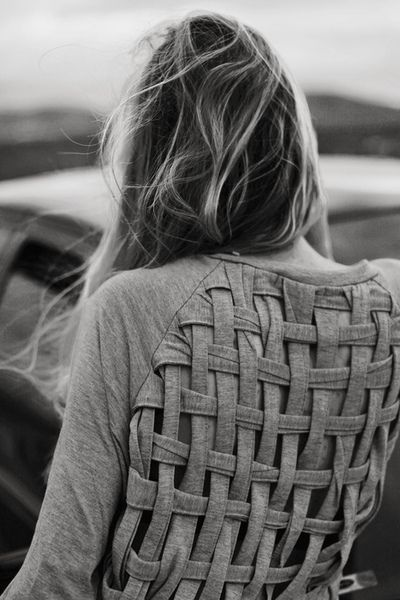 {diy file} cut and reweave the back of a shirt