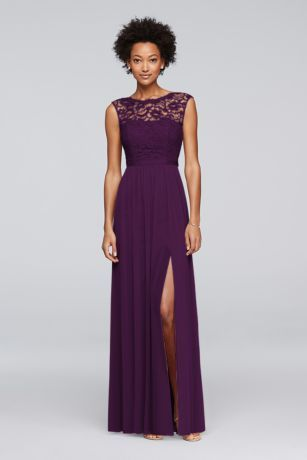 Looking for a little lace for your bridesmaids? This long bridesmaid dress features a lace bodice, an illusion neckline, a ribbon-defined waist, and a fluid mesh skirt with a slit.  Polyester, rayon, nylon  Back zipper; fully lined  Dry clean  Imported  Protect your dress before you wear it with our Garment Bag