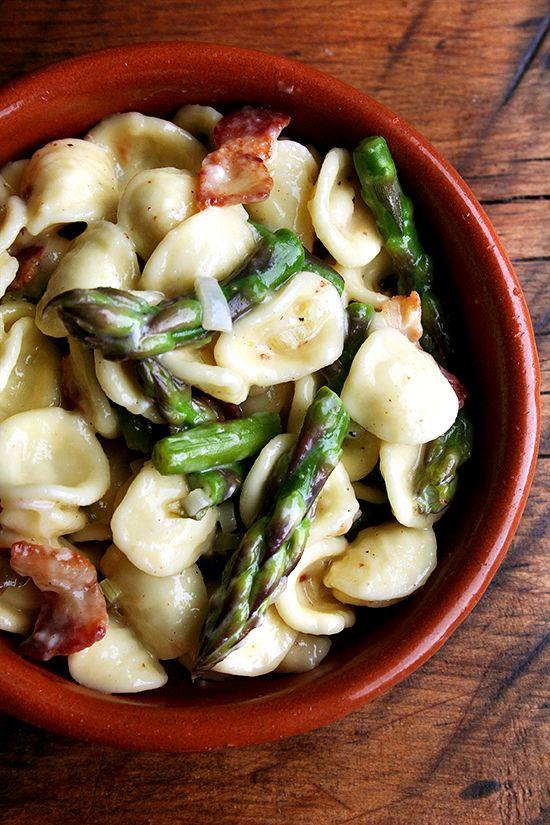 orecchiette carbonara with asparagus