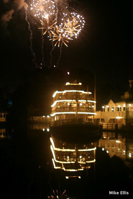 The Liberty Belle lights with fireworks