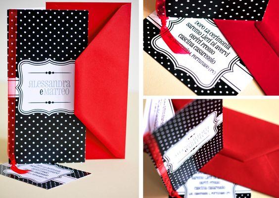 N.18 RED Stampa su cartoncino patinato bianco.   PARTECIPAZIONE 11x22 cm con busta rossa, INVITO 11,7x8 cm e BOMBONIERA = € 4,60 + iva.