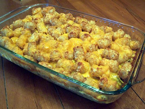 Tater Tot Casserole. Ingredients: 1 lb hamburger meat, 1 bag tater tots, 1 can cream of mushroom soup, 1/2 cup milk, 1 bag shredded cheddar cheese.    Directions: Brown and drain meat. Put meat into bottom of a casserole dish. Mix the soup and milk together and pour over the meat. Cover this with tater tots. Cover with tin foil and bake at 350 for 40 min. Uncover and top with cheese. Melt the cheese, then enjoy!
