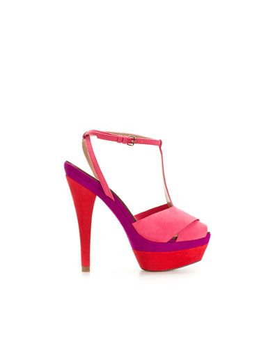 PLATFORM SANDAL WITH ANKLE STRAP - Shoes - Woman - ZARA United Kingdom