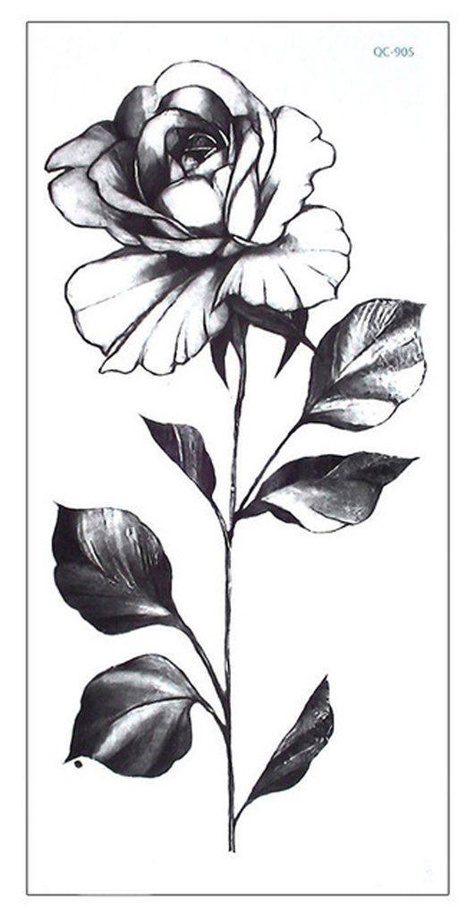 Chianne Black And White Single Rose Flower Temporary Tattoos Single Rose Tattoos White Rose Tattoos Black And White Rose Tattoo
