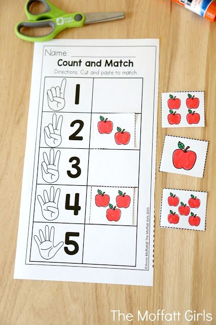 Count and Match with apples- Teaching number sense in Preschool with hands-on activities couldn't be more fun with the Back to School NO PREP Packets!