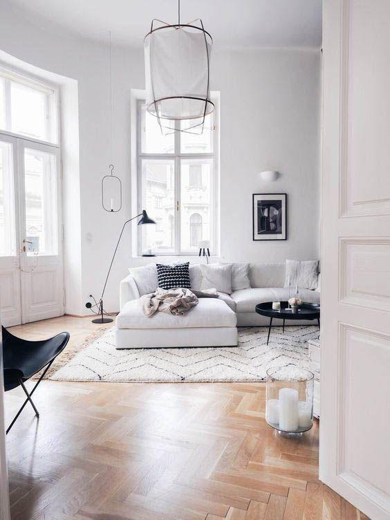 Scandinavian Living Room Parquet Floors White Walls Grey Sofa