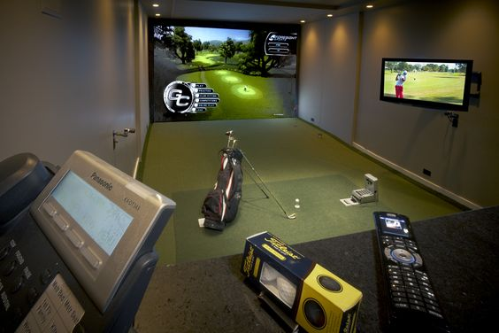 Green hooks and sweet on pinterest for Golf simulator room dimensions