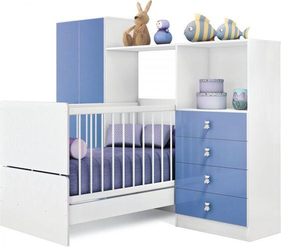 Quarto Compacto com Berço - Cama, Roupeiro e Cômoda.  Para quem dispõe de espaços menores este conjunto é uma excelente opção e o berço vira mini cama.