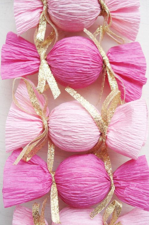 Crepe Paper wrapped Lindt Chocolate Truffles. Pretty and easy to do.