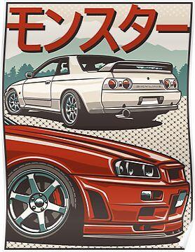 monster skyline gtr r32 r34 poster by