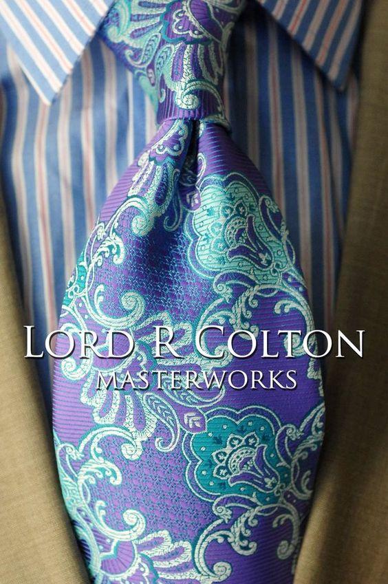 Lord R Colton Masterworks Tie - Cartagena Purple Seafoam Silk Necktie - $195 New #LordRColton #NeckTie