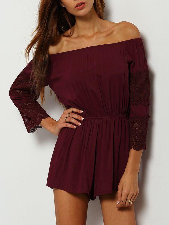 Shop Burgundy Off The Shoulder Lace Embellished Jumpsuit online. SheIn offers Burgundy Off The Shoulder Lace Embellished Jumpsuit & more to fit your fashionable needs.