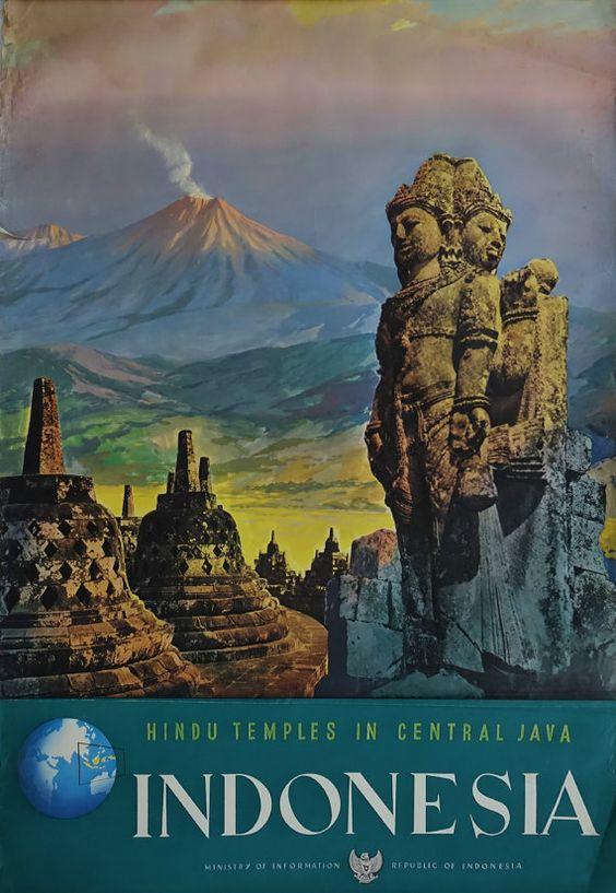 1950s Java Indonesia Travel Poster  Original by OutofCopenhagen