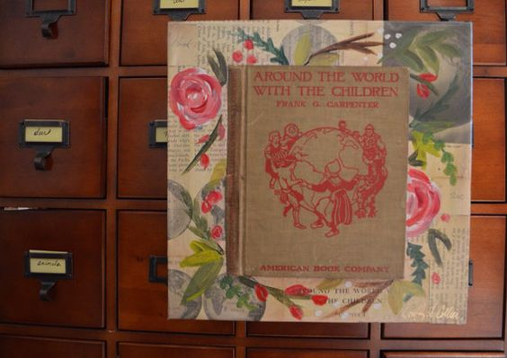 Around the World Floral red rose book art on Etsy, $115.00