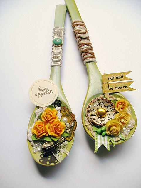 These were small, unfinished wooden spoons decked out and turned in to magnets.