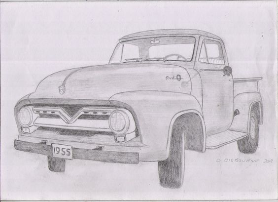 Pencil Drawing Of A 1955 Ford F 100 Pick Up