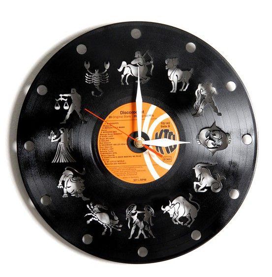 Vinyl-Schallplattenuhr mit Tierkreiszeichen