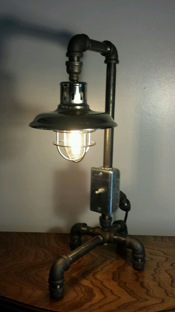 Industrial lamp steampunk art black steel pipe cast for Painting black iron pipe