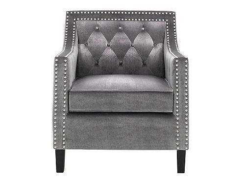 Dress Up Your Space With The Elegant Tianna Accent Chair Diamond Style Buscuit Tufting Silver Nailhead Trim And Accent Chairs Chair Accent Chairs Armchairs